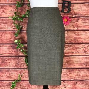 Ann Taylor Skirt 8 Olive Black Tweed Wool Mermaid